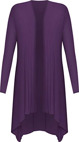 Femmes Hem Cardigan 42 WearAll longues Femmes Ouvrir Hank Tailles manches Hauts Pourpre Waterfall 56 dH0x0pEw