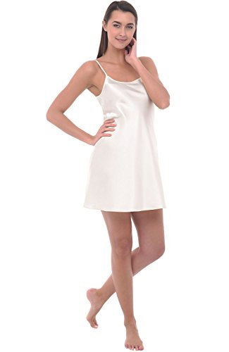 (Alexander Del Rossa Womens Satin Nightgown, Long Camisole Chemise, Small Off White (A0766OFWSM))