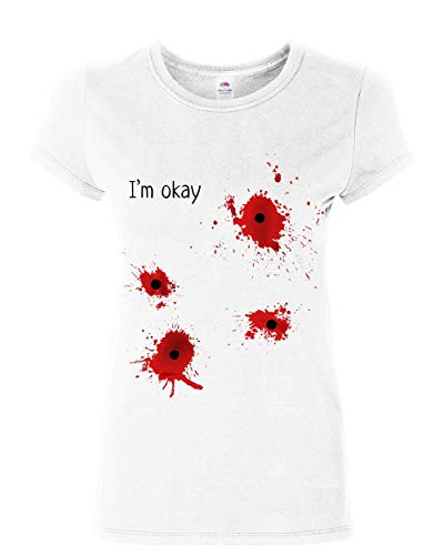 I'm Okay Halloween Women's T-Shirt Funny Bullet Hole Blood Stained Shirt White 3XL -