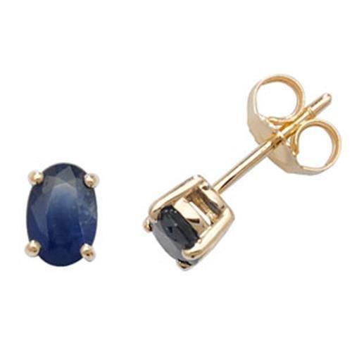 Sapphire Boucles d'oreilles clous or jaune 9carats OV/6x 4