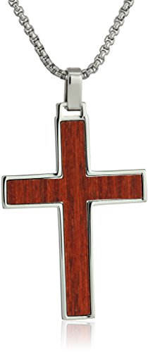 - Men's Stainless Steel Reversible Cross Wood and Carbon Fiber on 24