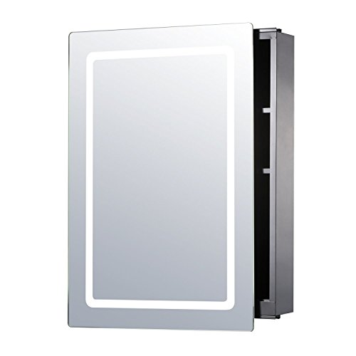 "HOMCOM 30"" LED Illuminated Wall Mirror Medicine Cabinet Bathroom Sliding Door Vertical Stainess Steel"