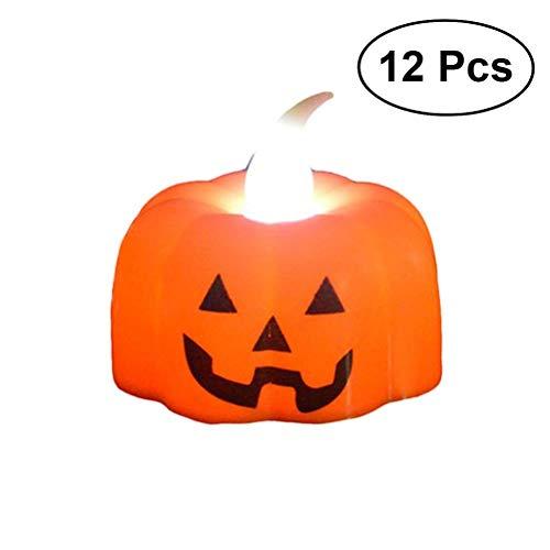 Polymer 12pcs Halloween Glowing Toy Pumpkin Candle Shaped Lights Pumpkin Light Cartoon Pumpkin Pattern Lights for Halloween Decor and Christmas White Light(Mixed) -