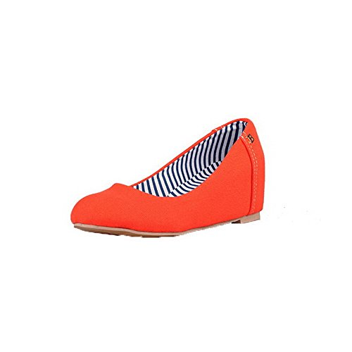 Orange Round Kitten Odomolor Shoes Pull Fabric Pumps Women's Solid 42 Heels On Toe AqAt4PnxXw