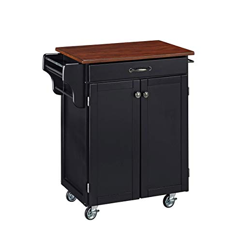 Create-a-cart Black Kitchen Cart with Cherry Top by Home Styles
