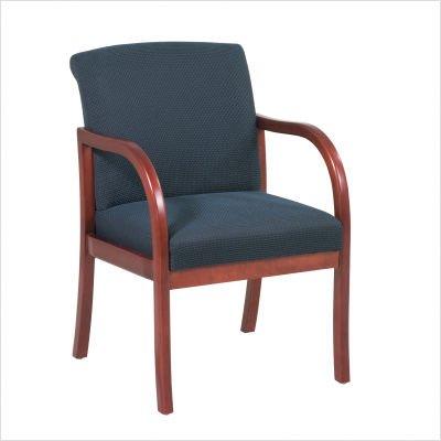 Cherry Finish Modular Guest Chair with Grade B Crave Pattern Fabric, Moss Cherry Finish Modular Guest Chair