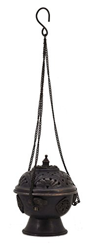 Premium Quality Copper Brass Hanging Incense Burner (Dark Brown)