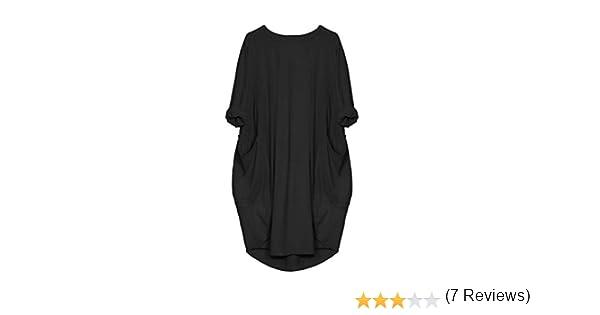 Cinnamou Vestido de Mujer con Bolsillos y Cuello Redondo, Vestidos Largos de algodón Casual Tops para Mujer Mini Faldas Sueltas con Manga Corta 3/4 (Negro, S): Amazon.es: Ropa y accesorios