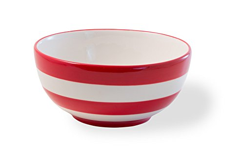 Boston International Ceramic Bowl, 6-Inch, Americana Red and White Stripes