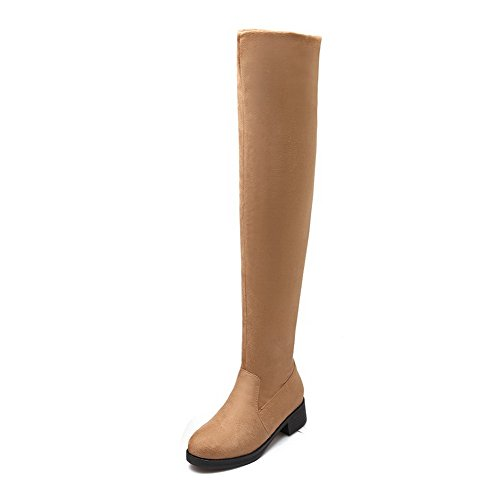Boots Women's Closed Low Heels Toe Frosted Round Allhqfashion Pull Apricot On Solid H7nvOqt