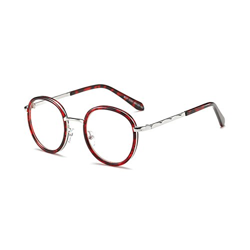 anti lentille sans métal design bleus Verres d'objectif neutres de Fuyingda Armature lunettes force nouvelles de Retro Red verres en rondes 0Wgv8f