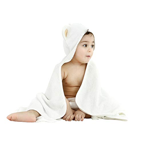 Organic Bamboo Hooded Baby Towel and WashCloth Set | Hooded Bath Towel Soft & Absorbent | Baby Essentials for Boys & Girls | Ideal Gift for Newborn, Toddler or Gender Neutral Baby Gifts (Towel Baby Hooded Cat)