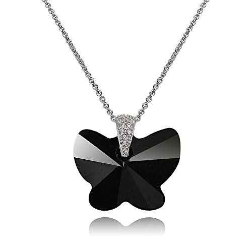 Sterling Silver Black Butterfly Pendant Necklace Made with Swarovski Crystals for Women - Butterfly Pendant Black