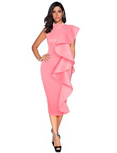 Meilun Womens Sleeveless Patchwork Ruffles Bodycon Vestidos Party Dresses Clubwear (M, Pink)