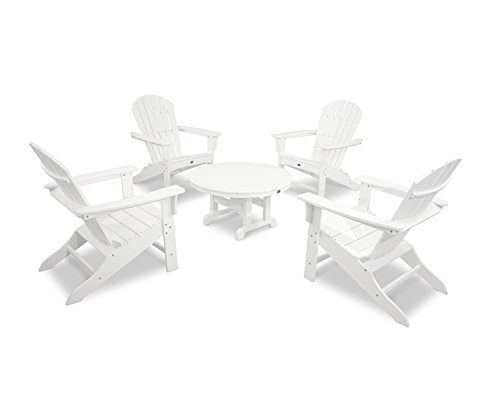 Trex Outdoor Furniture by Polywood 5-Piece Cape Cod Adirondack Conversation Group, Classic White