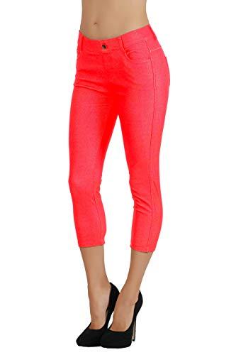 - Fit Division Women's Jean Look Cotton Blend Jeggings Tights Slimming Full Lenght Capri Bermuda Shorts Leggings Pants S-3XL (1X US Size 12-14, FDJN817-RED)