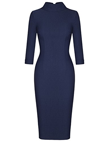 MUXXN Womens 1960s Style Mock Neck Bandage Bodycon Cocktail Juniors Dress (Blue S)