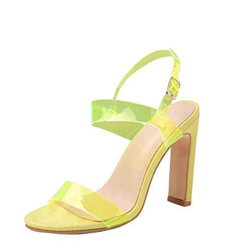YKARITIANNA Fashion Women Summer Party Rough Heel PVC Transparent Sandals Wedding Shoes Green]()