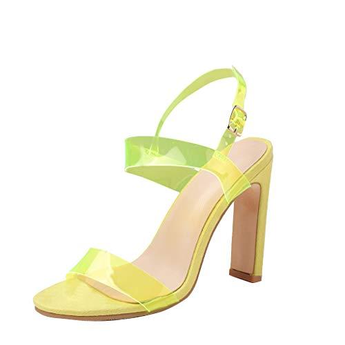YKARITIANNA Fashion Women Summer Party Rough Heel PVC Transparent Sandals Wedding Shoes Green -