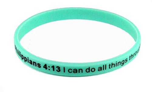 8140002 Set of 3 Philippians 4:13 I Can Do All Things Thin Silicone Bracelet Band 6mm Adult Size