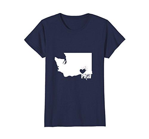 Womens Pacific Northwest PNW State Of Washington Love T Shirt XL Navy