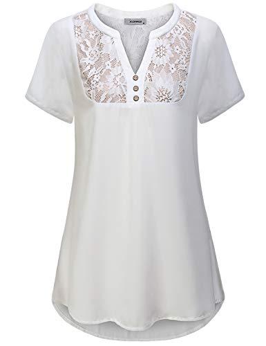 Dressy Tops for Women, Ldies Office Shirt Split V Neck with Button Trim Designer Short Sleeve Shirttail Trendy Lace Patchwork Chiffon Tunic Tshirt Work Wear White XL -