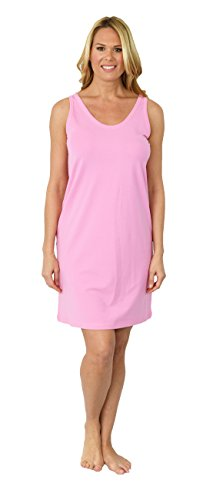 Shadowline Women's Before Bed Collection Sleepshirt - Short Tank Dress (Medium, Pink)