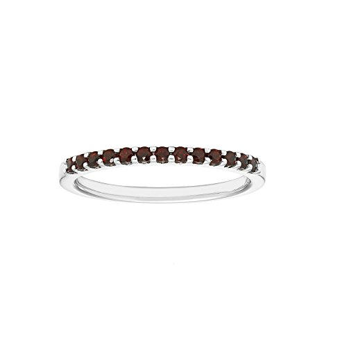 (14K White Gold 1/4 Cttw Genuine Garnet Stackable 2MM Wedding Anniversary Band Ring - January Birthstone, Size 6)