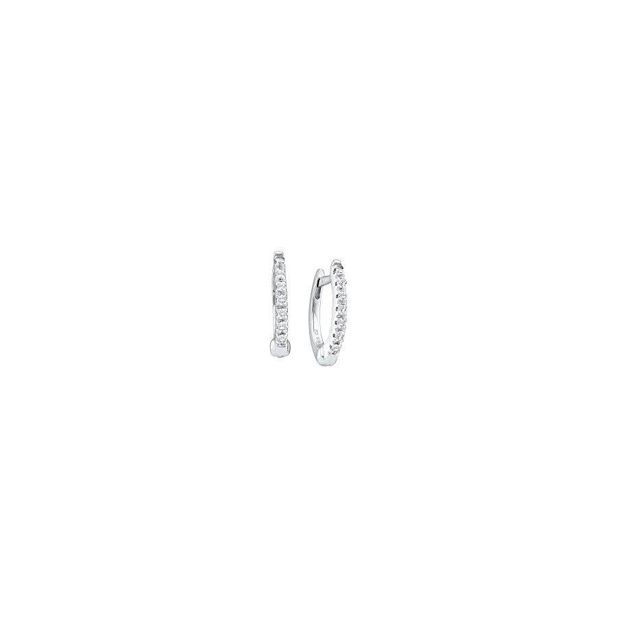 14kt White Gold Womens Round Prong set Diamond Single Row Hoop Earrings 1/12 Cttw