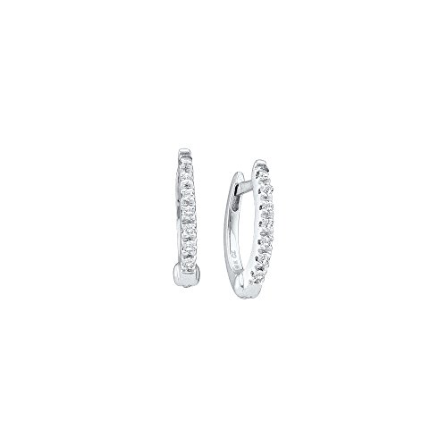 14kt White Gold Womens Round Prong set Diamond Single Row Hoop Earrings 1/12 Cttw
