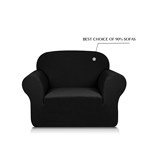 Subrtex 1-Piece Knit Jacquard Spandex Stretch Sofa Slipcovers (Chair, Black) (Room Drawing Furniture)