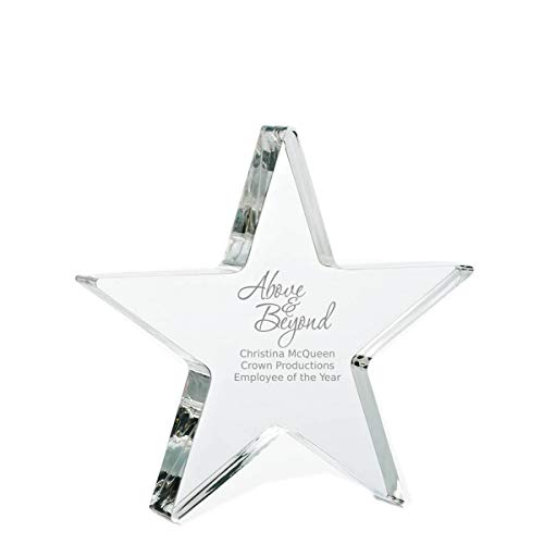Acrylic Star Trophy - Baudville Engraved Trophy - Clear Acrylic - Star - Award for Employees - Personalized Engraving Up to Three Lines and Pre-Written Verse Selection - Comes in Gift Box