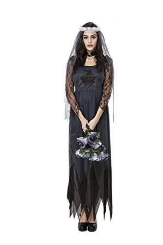 Adult Corpse Bride Deluxe Costumes (Honeystore Women's Deluxe Lace Victorian Ghost Bride Costume Halloween Cosplay L)