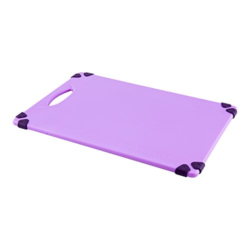 12'' x 18'' Purple Durable Plastic Cutting Board – Rubber Corner Grips Prevent Slipping – Color-Coded for HACCP Food Safety Compliance – Measurement Markers for Precise Cutting – Dishwasher Safe – 1-CT by Restaurantware