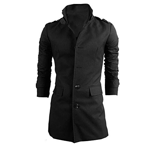 Realdo Mens Single-Breasted Windbreaker, Thick Business Casual Men Warm Lapel Long Trench (Slingshot Down Jacket)