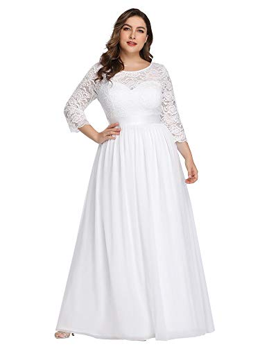 Ever-Pretty Womens Plus Size Floor-Length Black Tie Evening Prom Gown for Women White US 22
