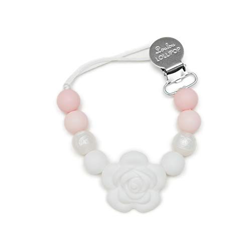 Loulou LOLLIPOP - Lolli - Best Silicone Pacifier Clip and Holder - Flower/Baby Powder