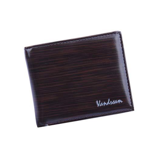 Clearance Sale Litetao Business Bifold Wallet Wood Grain PU Leather Purse Cash ID Credit Card Holder VANDREAM Money Clip Gift (Coffee) ()