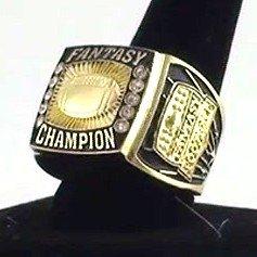 Fantasy Football Champion Ring / Heavy FFL Studded Championship Winner - Decade Awards - League Champ (GOLD, 11)