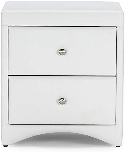 Pemberly Row 2 Drawer Faux Leather Nightstand in White