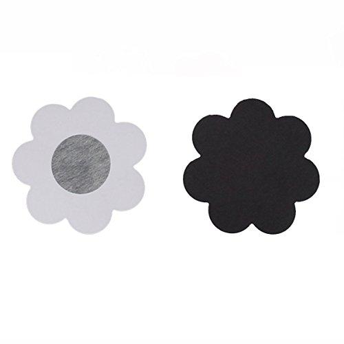 ZAIQUN Raso Sujetador Invisible de Una Vez Flor Satén Pegatina Cojín de La Teta Sostén Invisible Negro