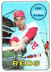 (1969 Topps # 295 Tony Perez Cincinnati Reds (Baseball Card) Dean's Cards 5 - EX Reds)