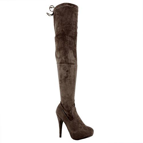 Guilty Schuhe Damen Sexy Pull Up Stiletto Slouchy High Heel - Overknee Oberschenkel Hohe Stiefel Graues Wildleder