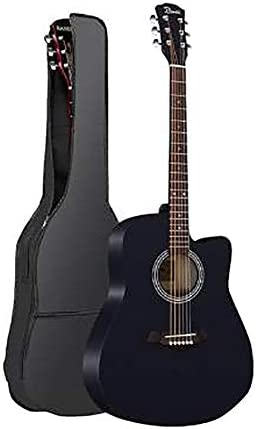 ZZRS シナアコースティックギター、初心者の学生男性と女性のエントリギター楽器、2色、41inch (Color : Black)