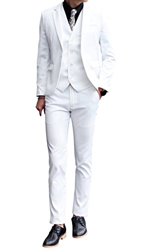 (MOGU Mens 3 Piece White Dress Suit Set US Size 35(Asian Size XL) White)