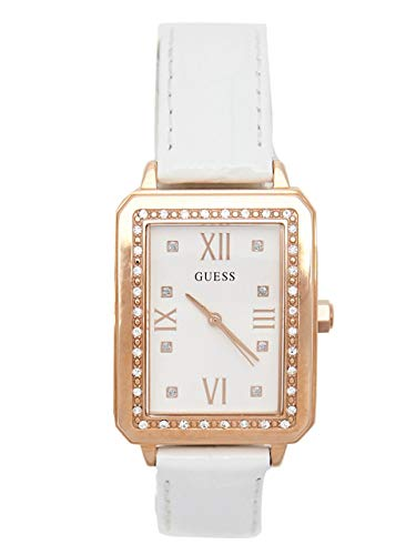GUESS Factory Women's White and Rose Gold-Tone Analog Watch ()