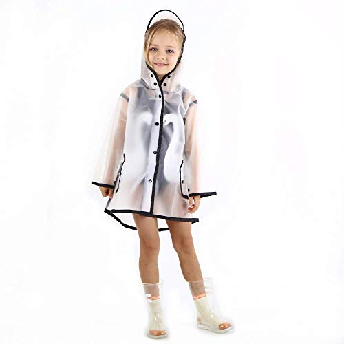 YOUNGER TREE Kids Raincoat Durable Translucent Rain Cape Portable Hooded Poncho for 1-10T Little Baby Boys Girls (White Translucent Long Raincoat, S for 8-9 Year Old (8-9 t)) (Girls Raincoat Size 8)