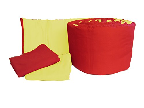 (Baby Doll Bedding Solid Reversible Mini Crib/Portable Crib Bumper and Sheets Set, Red/Yellow)