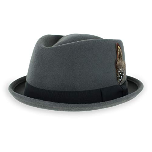 Belfry Crushable Porkpie Fedora Men's Vintage Style Diamond Hat 100% Pure Wool (Large, - Hat New Fedora