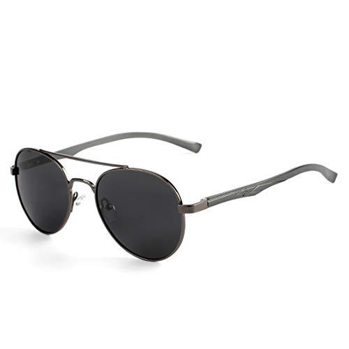 Redondas Sol Gafas Sakuldes Sol de Black Black de Gafas Frame Hombres Frame Lens polarizadas Gun Lens polarizadas Retro Color Black qxFfIw